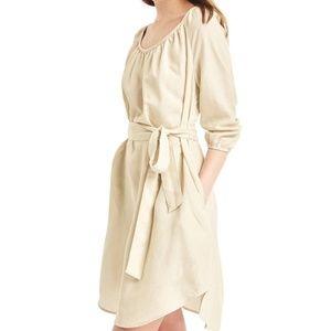 Gap Tencel Shirred Boatneck Dress Cream Small